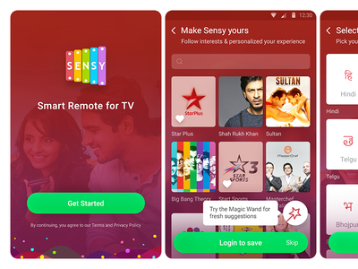 TV Guide & Remote App minimal mobile iphone interface design onboarding ui design app ui ux android tv