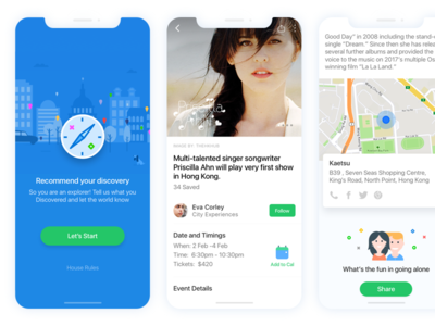 Discover around you - mobile app search travel share local ios city guides ui ux social iphone x discover feeds