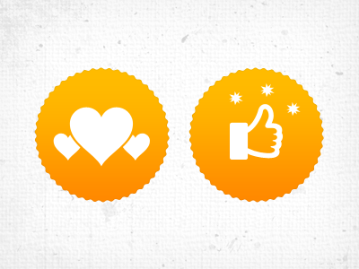 Favouritest badge icon badge iphone mobile ios android social vivek bangalore india design i2fly thumbs up illustration like yellow love application