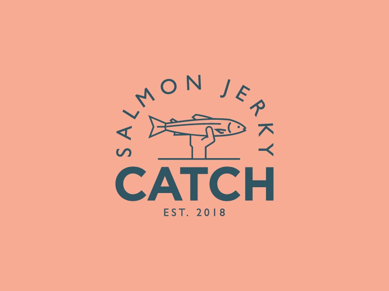 Catch quirky logo design branding illustration animal fish typography jerky salmon badge logo