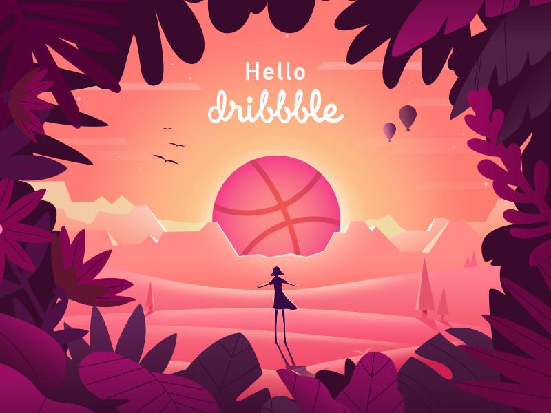 Hello Dribbble! girl landscape sunrise dribbble hello