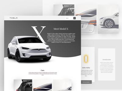 Tesla Model X - Landingpage landing page light ux ui minimal clean grey white electric cars car tesla