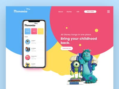 Disney Memories - Bring your childhood back. flat character animation ux ui landing page iphone iphone8 iphonex disney