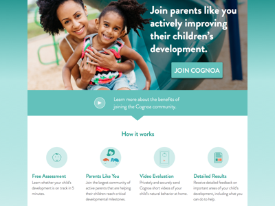 Cognoa Homepage Exploration community children doctor landing page how it works icons web medtech healthcare homepage