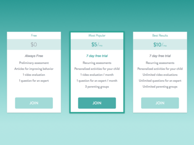 Three Tier Pricing Table  checkout web medtech health memberships cards pricing table