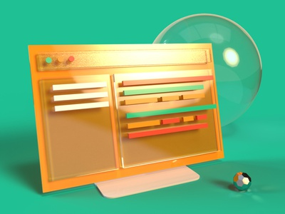 3D Plastic Monitor adobe dimension screen monitor 3d liverpooldesigner graphicdesign digital design ui colour design