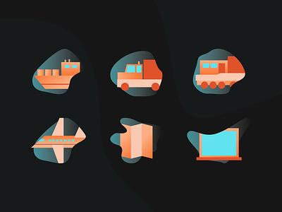 Freight Icons dual tone ui illustration liverpool digital design design cleanui beautiful design graphicdesign train icon shipicon planeicon map icon truck transport colour icon gradient icondesign freight