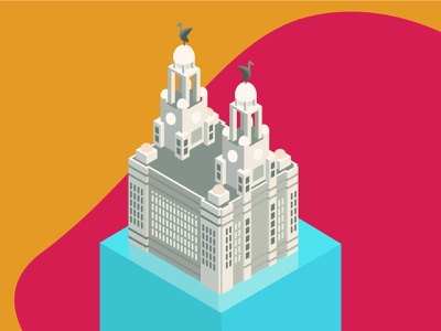 Liver Building Isometric vector ui creative liverpool designer graphicdesign waterfront city guide bird merseyside trendy modern beautiful bright red yellow colourful illustration isometric liver bulding liverpool