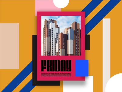 FRIDAY inspiration grid aligned boxes colour and lines red and blue pink red colourfull tga liverpooldesigner designdigest poster design friday