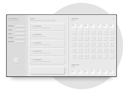 Neumorphism Cal xd design grays liverpooldesigner ui digital design design calendar