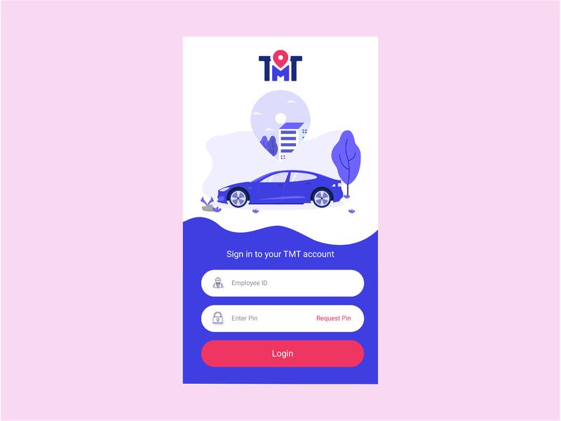Dell TMT Login UI Revamp login cab dell mobile app illustration ui travel