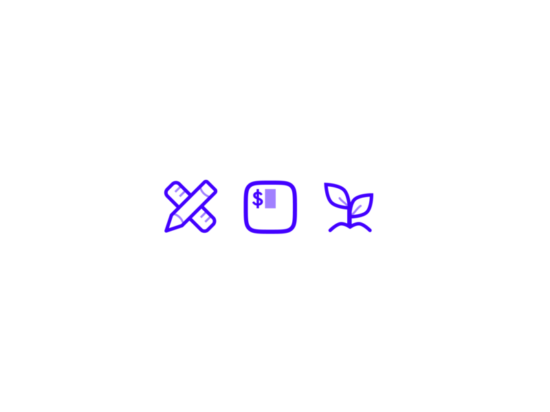 Code & Wander business growth code design blurple icons