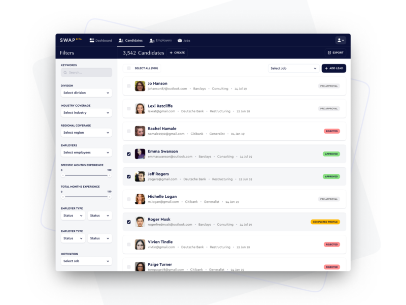 Swap Candidate Search platform filters ux ui crm search