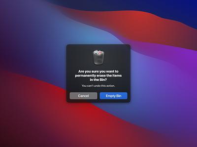 Empty Bin delete modal icon bin trash bigsur macos alert