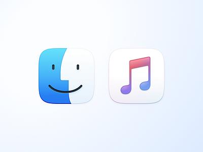Finder & Music music finder dock icon app bugsur macos
