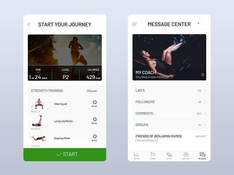 Fitness App Design clean design fitness concept mobile app