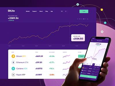 Dashboard for cryptocurrency trading platform. web website webdesign ux design web design interface purple crypto cryptocurrency trading bitcoin ripple etherium application app dashboard