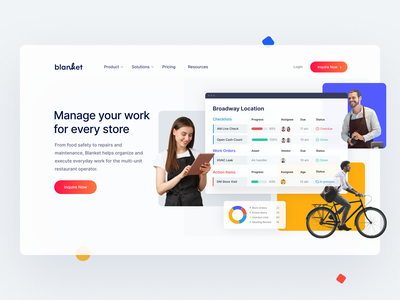Homepage design for the Blanket — Task management tool operations execution productivity platform management stores restaurant business workflow landing page visual identity brand architecture saas diagrams web design webdesign design website web ui ux