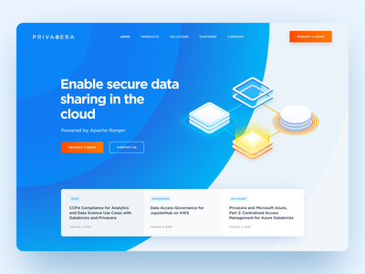 Homepage design for Privacera — Data Governance and Security landing website design orange data cloud security privacy saas graphic blue design website diagrams diagram ux ui web homepage webdesign web design