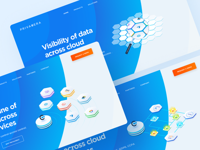Header diagrams for Privacera landing homepage graphic webdesign web header design design blue saas website web design ux ui isometric diagrams diagram