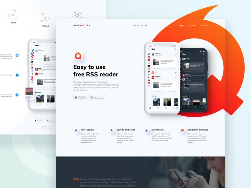 FireQuoty RSS App Website Conception conception white web design website webdesign web ux ui rss orange mobile design app