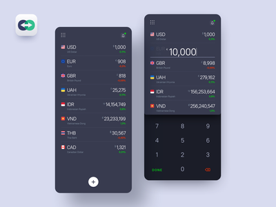 Currency Converter app product design web ios android interface dark blue uiux design application app converter ux ui