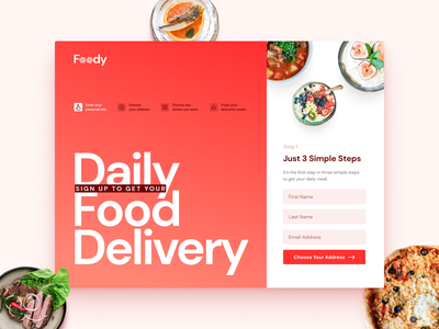 Daily Food Delivery :: Sign Up Form graphic dailyui 001 dailyui interface app website webdesign design web ux ui