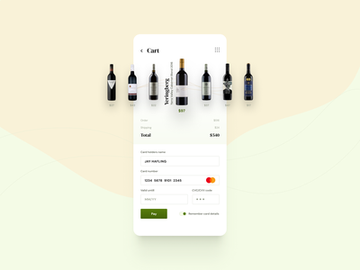 Wine Store :: Checkout payment checkout cart shopping cart application dailyui002 interface app ux ui