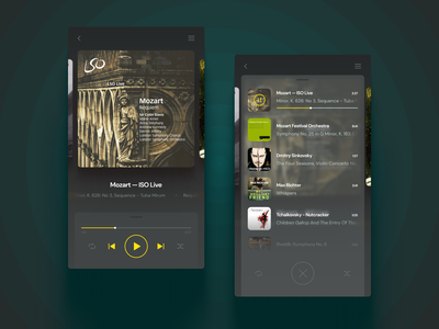 Audio Player :: Player and Playlist web webapp ux ui player audio music dark application app dailyui009 dailyui