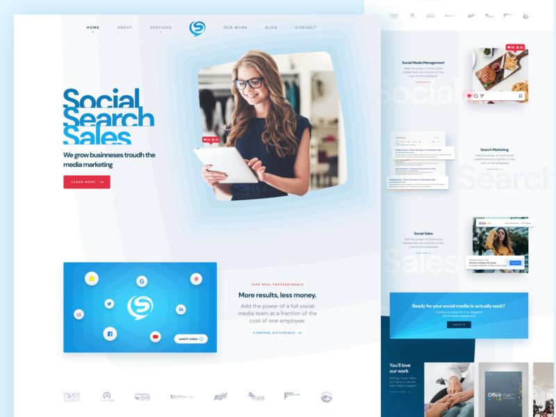 Social media marketing company homepage blue ux ui smm marketing social media web design webdesign web design website