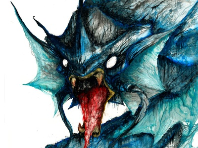 Gyarados painting watercolor art creature pokemon nintendo gaming wednesday wolf sea blue
