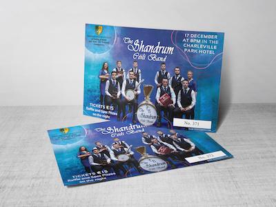 Ticket Design watercolour irish gaa music band ticket graphic design