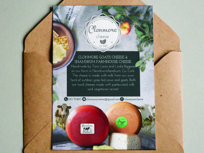 Clonmore Cheese Postcard Design farm cheese design leaflet flyer postcard