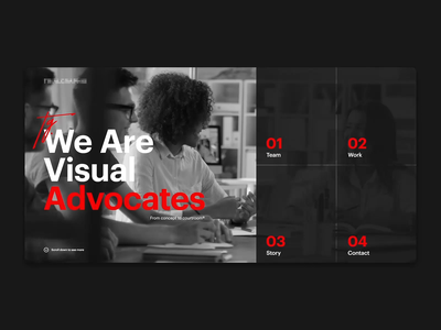 Project Advocates homepage fullscreen minimalism webdesign advocates advocate lawyers law corporate red typography clean black ux motion dark concept animation web ui