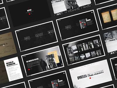 Dyatlov Pass Incident documentary expedition dyatlov storytelling story design homepage typography promo black motion ux dark concept web ui