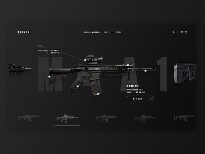 Gun Store Concept ui web dark black products product army store weapons weapon guns gun
