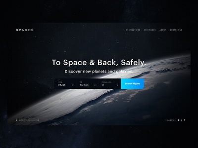 SPACED: #SPACEDchallenge web travel ui booking earth universe planets cosmos space concept spacedchallenge