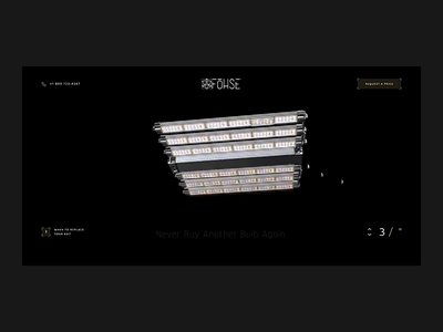 Fohse: Part 2 typography fullscreen minimalistic light lamp 3d promo product black dark motion animation web ui