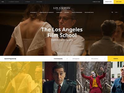 The Los Angeles Film School homepage films photographers producers directors actors light clean corporate ui web education school academy los angeles cinema movies