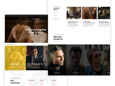 The Los Angeles Film School homepage films photographers producers directors actors light clean corporate ui web education school academy los angeles cinema movies