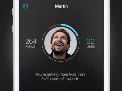 Lavendr Stats Screen profile iphone mockup lavendr round circle dark blue ios8 zeifart