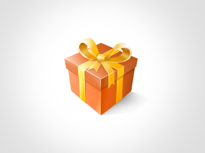 Gift gift present ribbon yellow red box surprise icon the game gift photoshop