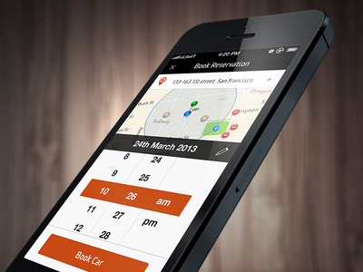 Custom picker prototype ios picker iphone custom orange showcase template button map search car rental date time book booking