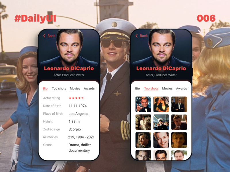 DailyUI_006_Profile star movies movie app movie legend oscar famous people famous actors actor film dailyui 006 daily ui 006 dailychallenge daily 100 challenge dailyuichallenge daily ui dailyui daily