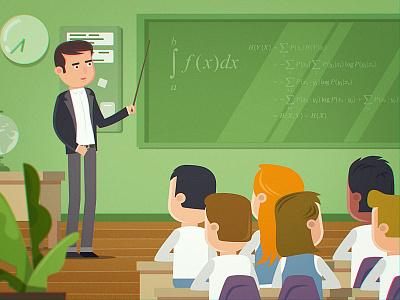 Classroom explainer children clock glob bush art interior classroom 2d character