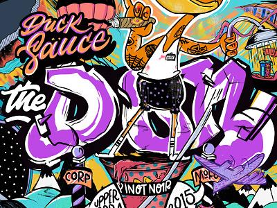 Duck Sauce The Don Pinot Noir Close Up branding label throwup graffiti wine sauce duck