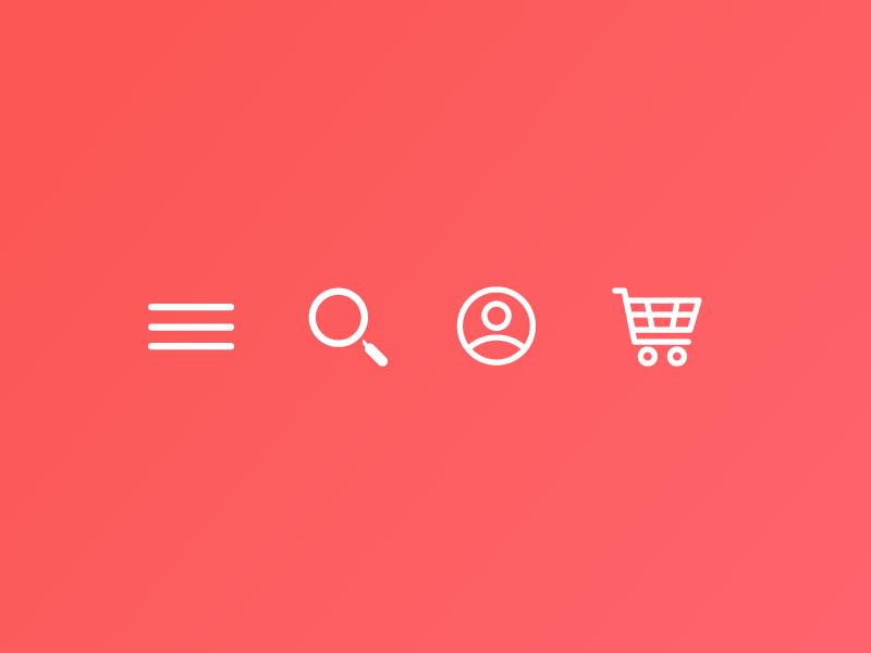Web icon set line icon cart account search menu