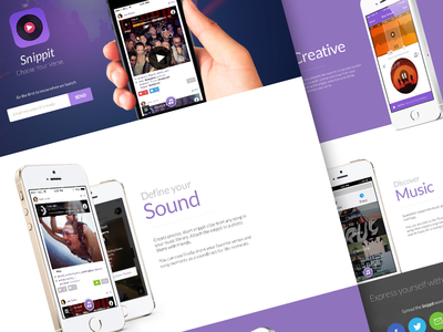 Snippit Landing Page landing page web mobile app ios7 flat iphone ios webdesign design 5s pixelmatters