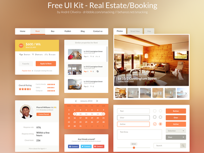 Free UI Kit PSD - Real Estate/Booking estate download ui calendar real kit booking free freebie psd flat web