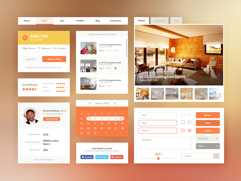 Free UI Kit PSD - Real Estate/Booking by André Oliveira - Dribbble